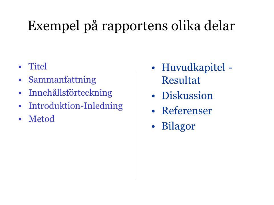 Exempel på rapportens olika delar