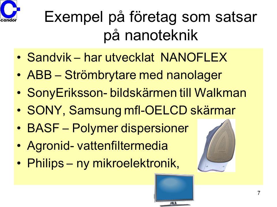 Exempel på företag som satsar på nanoteknik