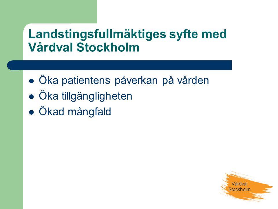 Landstingsfullmäktiges syfte med Vårdval Stockholm