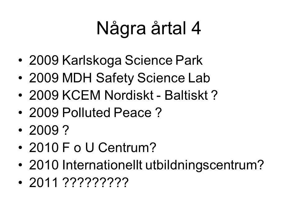 Några årtal 4 2009 Karlskoga Science Park 2009 MDH Safety Science Lab