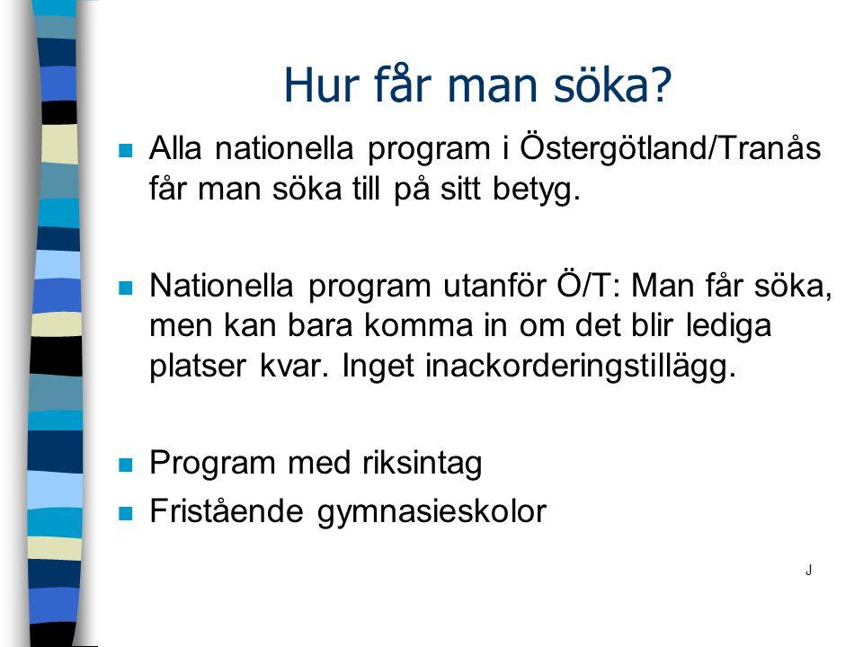 Hur får man söka Alla nationella program i Östergötland/Tranås får man söka till på sitt betyg.