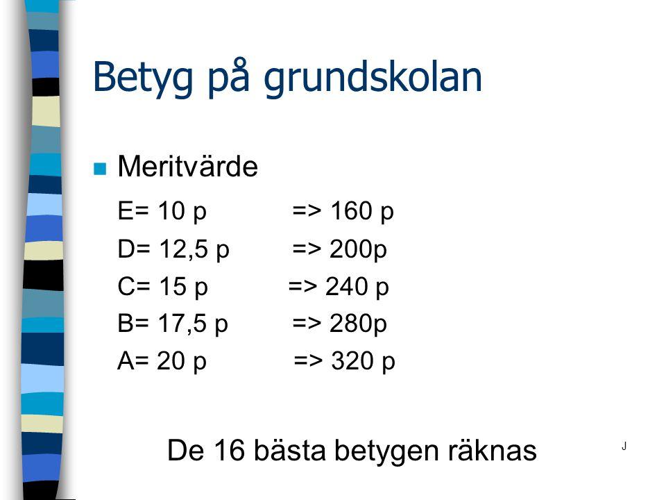 Betyg på grundskolan Meritvärde E= 10 p => 160 p