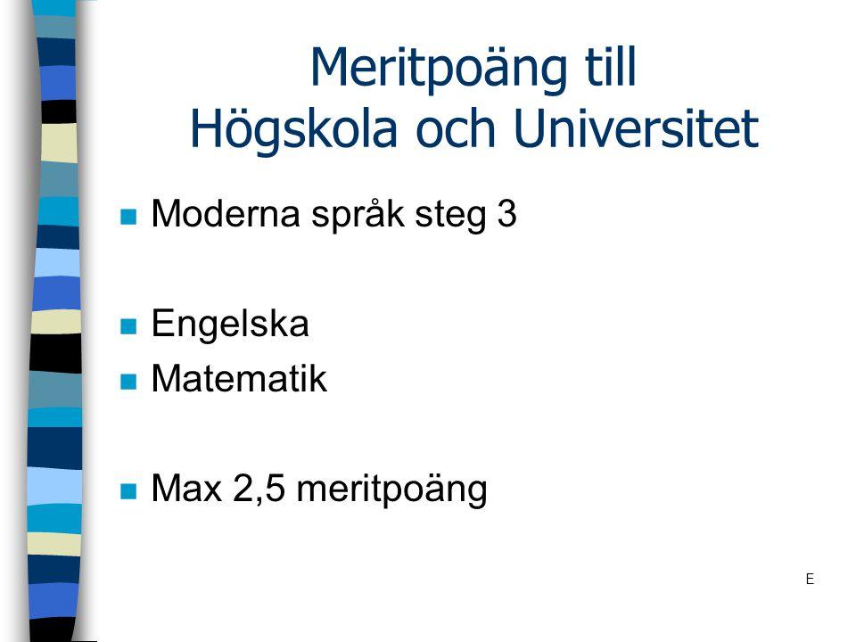 Meritpoäng till Högskola och Universitet