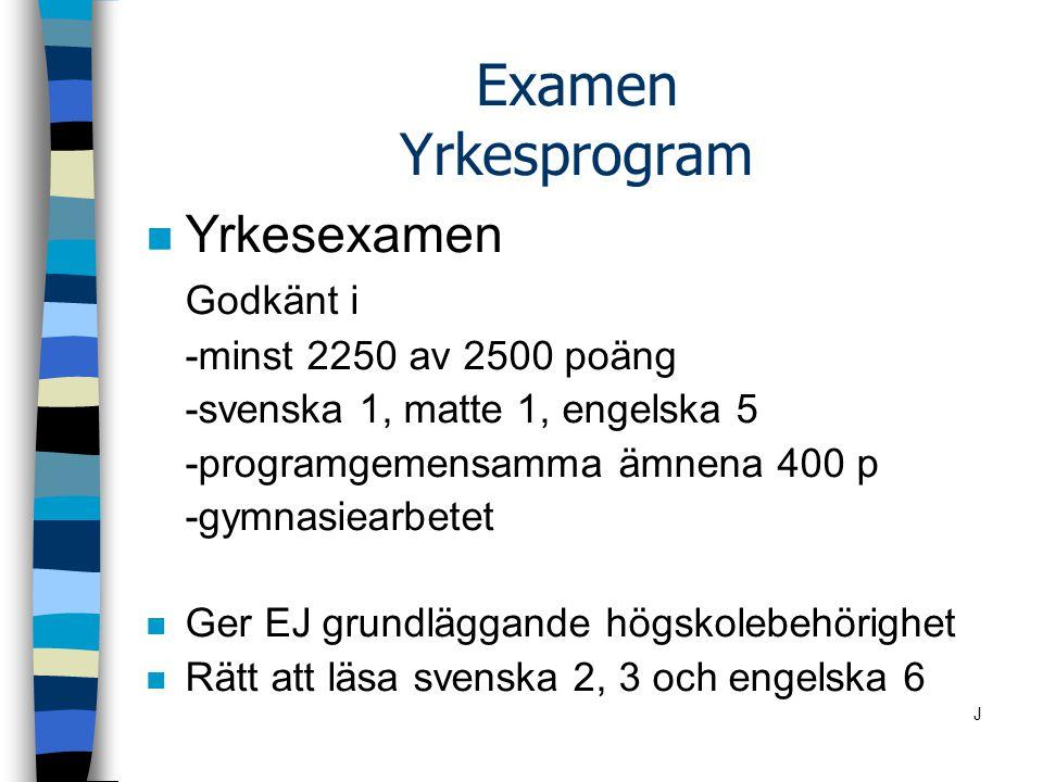 Examen Yrkesprogram Yrkesexamen Godkänt i -minst 2250 av 2500 poäng