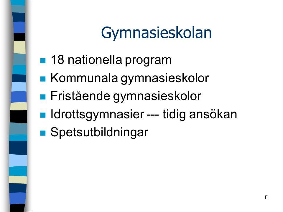 Gymnasieskolan 18 nationella program Kommunala gymnasieskolor