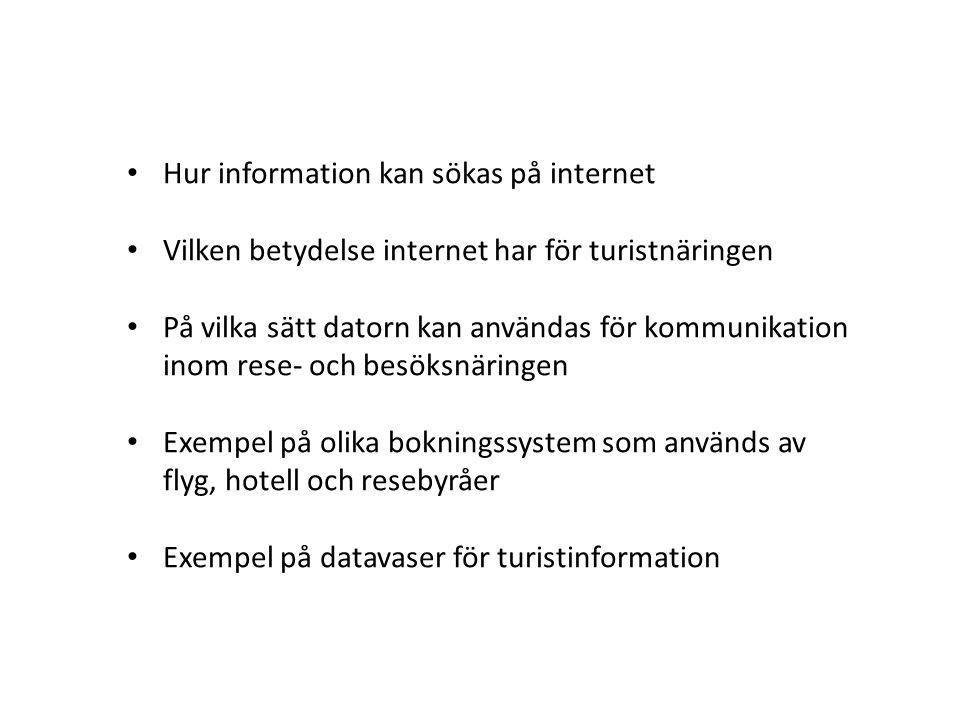 Hur information kan sökas på internet
