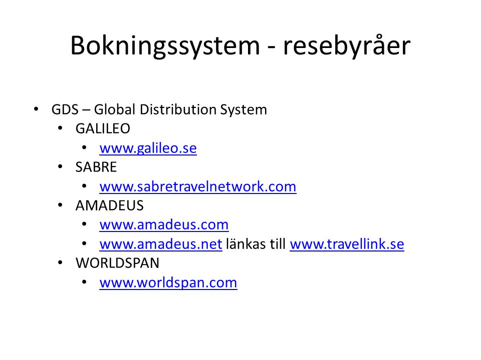 Bokningssystem - resebyråer