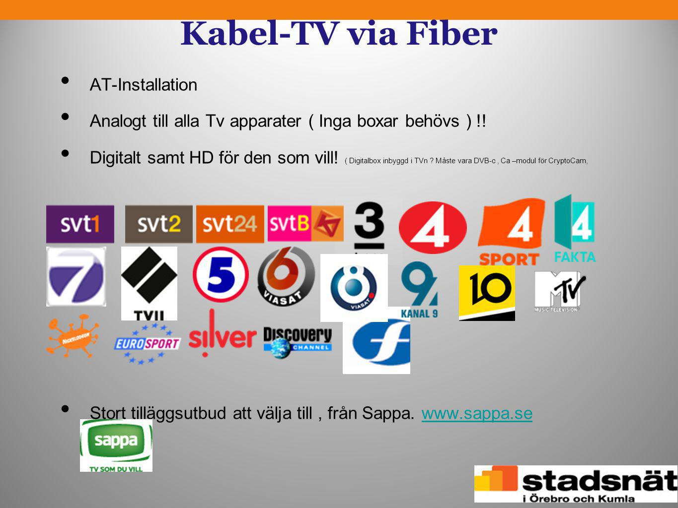 Kabel-TV via Fiber AT-Installation
