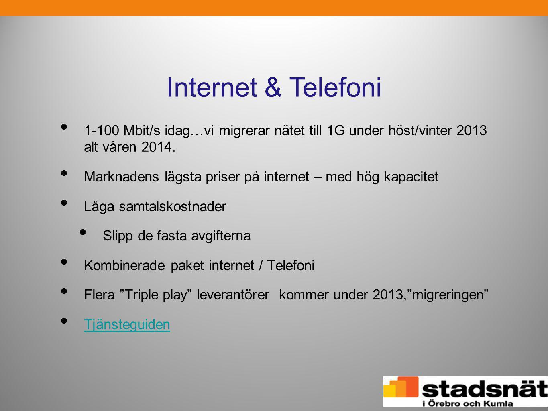 Internet & Telefoni 1-100 Mbit/s idag…vi migrerar nätet till 1G under höst/vinter 2013 alt våren 2014.