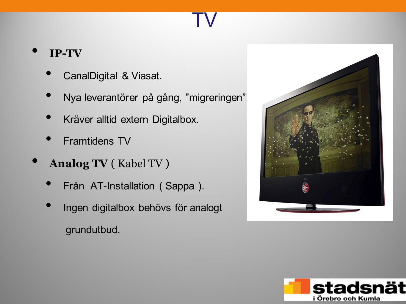 TV IP-TV Analog TV ( Kabel TV ) CanalDigital & Viasat.