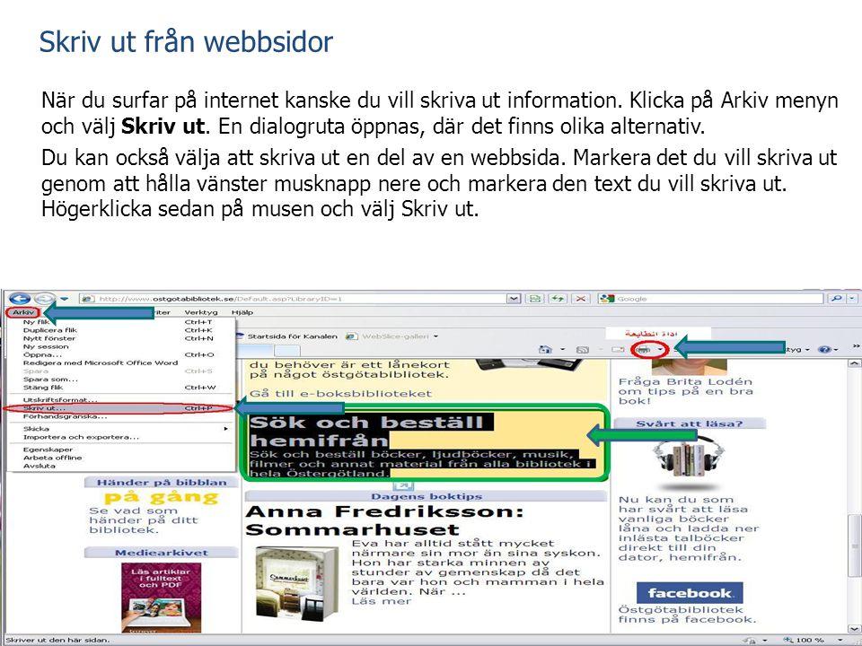 Skriv ut från webbsidor