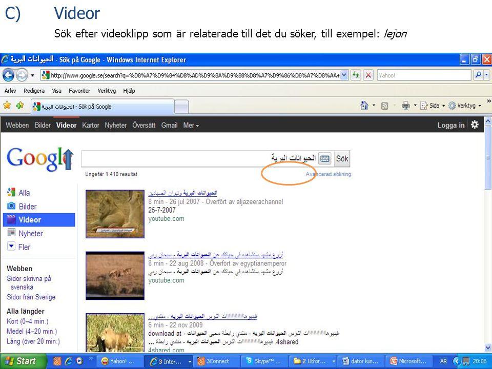 C) Videor Sök efter videoklipp som är relaterade till det du söker, till exempel: lejon