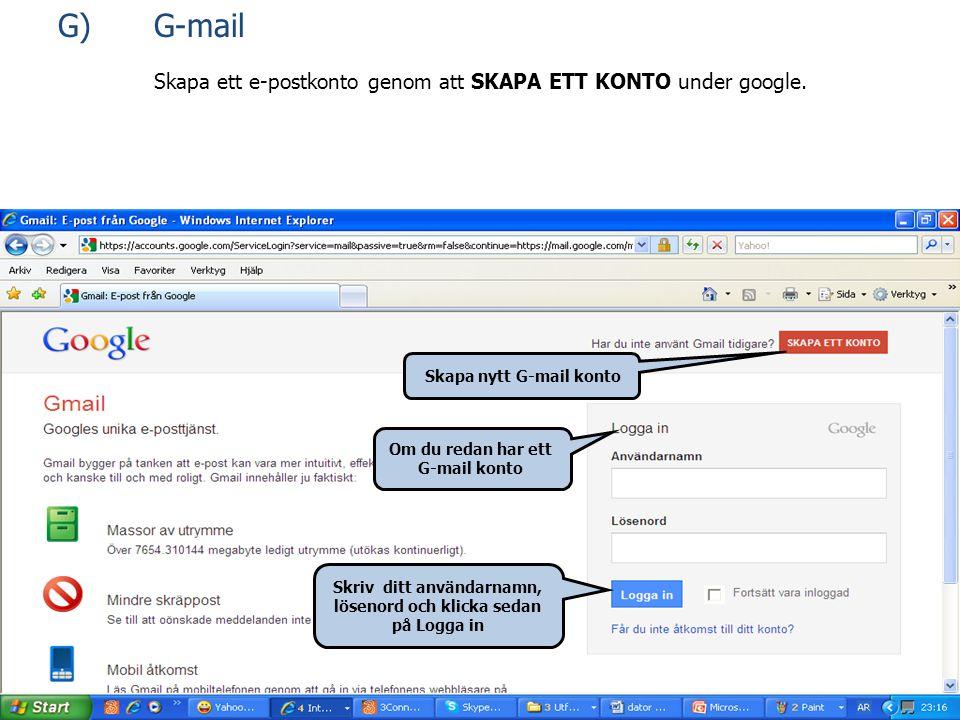 Skapa ett e-postkonto genom att SKAPA ETT KONTO under google.