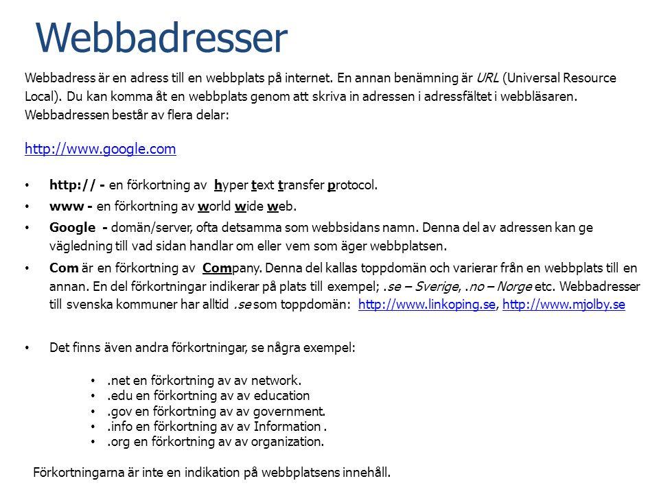 Webbadresser http://www.google.com