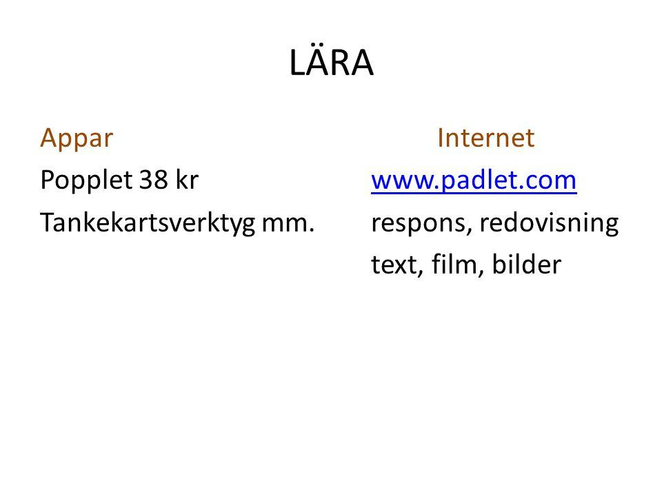 LÄRA Appar Internet Popplet 38 kr www.padlet.com Tankekartsverktyg mm.