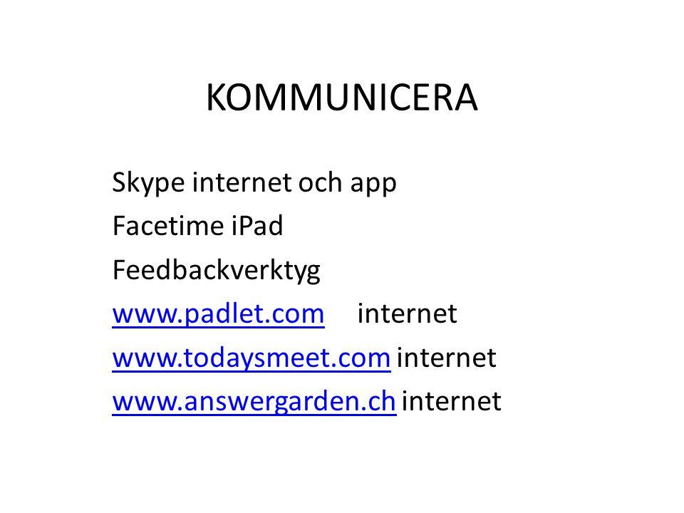 KOMMUNICERA Skype internet och app Facetime iPad Feedbackverktyg