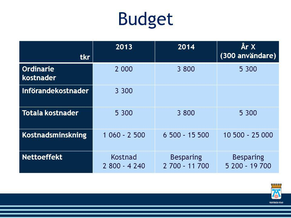 Budget tkr 2013 2014 År X (300 användare) Ordinarie kostnader 2 000