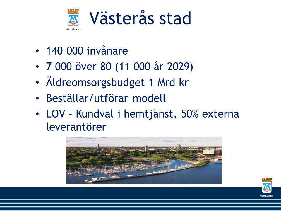 Västerås stad 140 000 invånare 7 000 över 80 (11 000 år 2029)