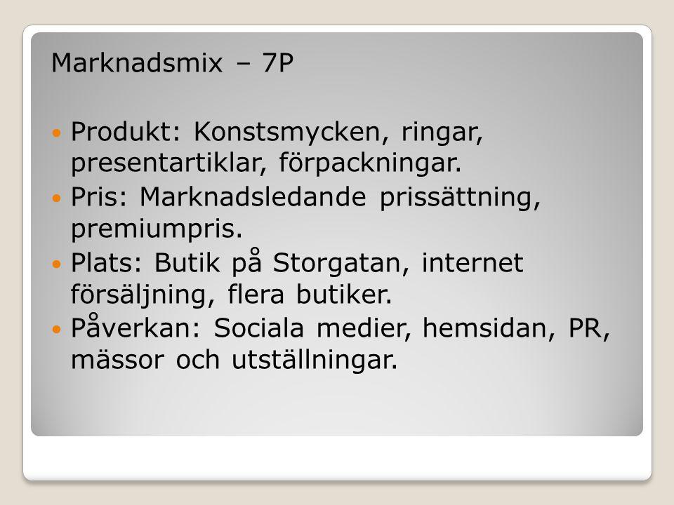 Marknadsmix – 7P Produkt: Konstsmycken, ringar, presentartiklar, förpackningar. Pris: Marknadsledande prissättning, premiumpris.