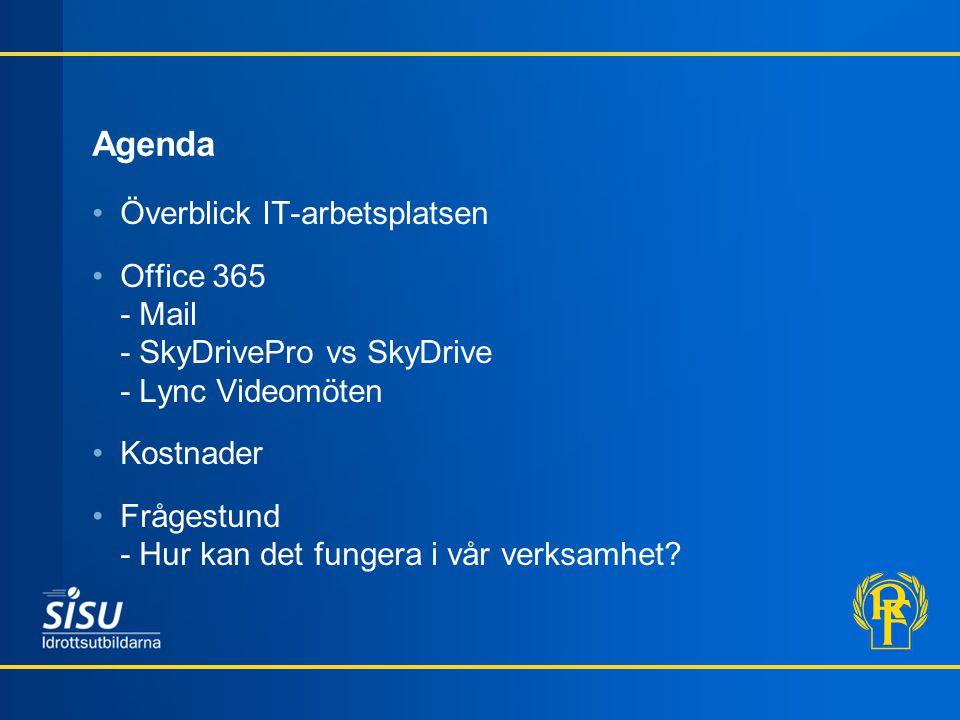 Agenda Överblick IT-arbetsplatsen