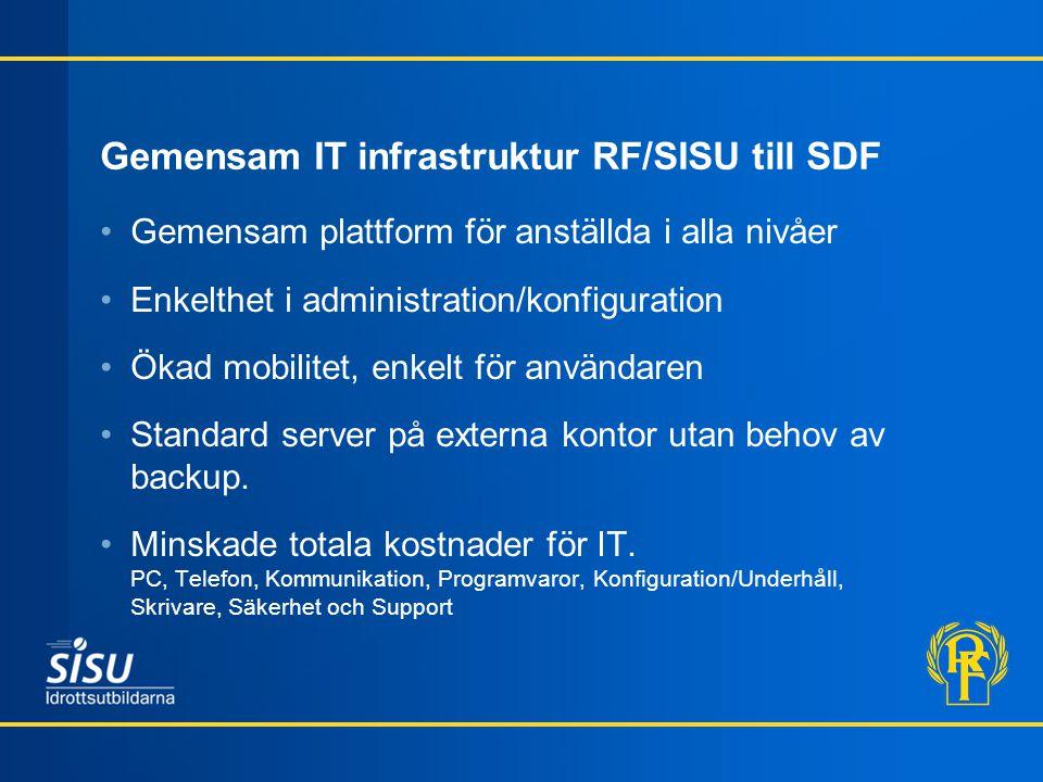 Gemensam IT infrastruktur RF/SISU till SDF