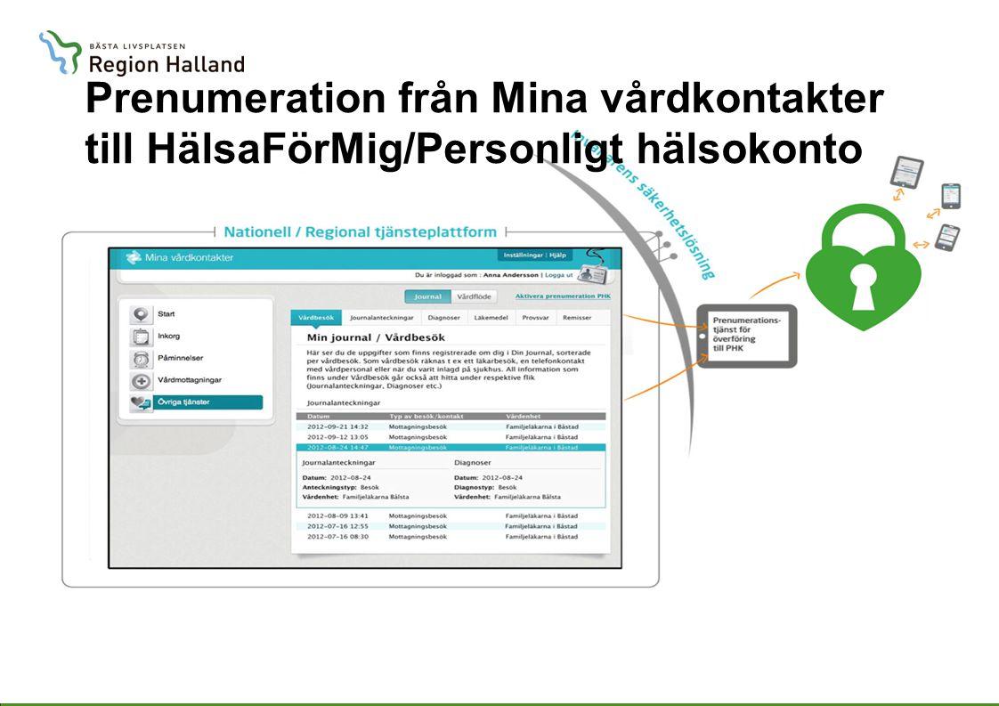 Prenumeration från Mina vårdkontakter till HälsaFörMig/Personligt hälsokonto