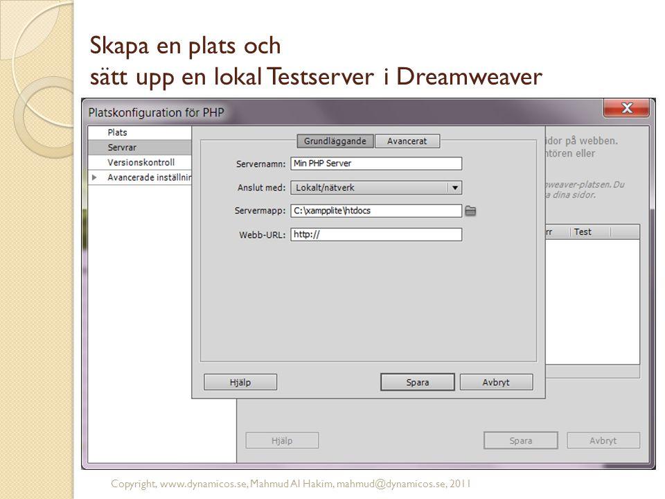 Skapa en plats och sätt upp en lokal Testserver i Dreamweaver