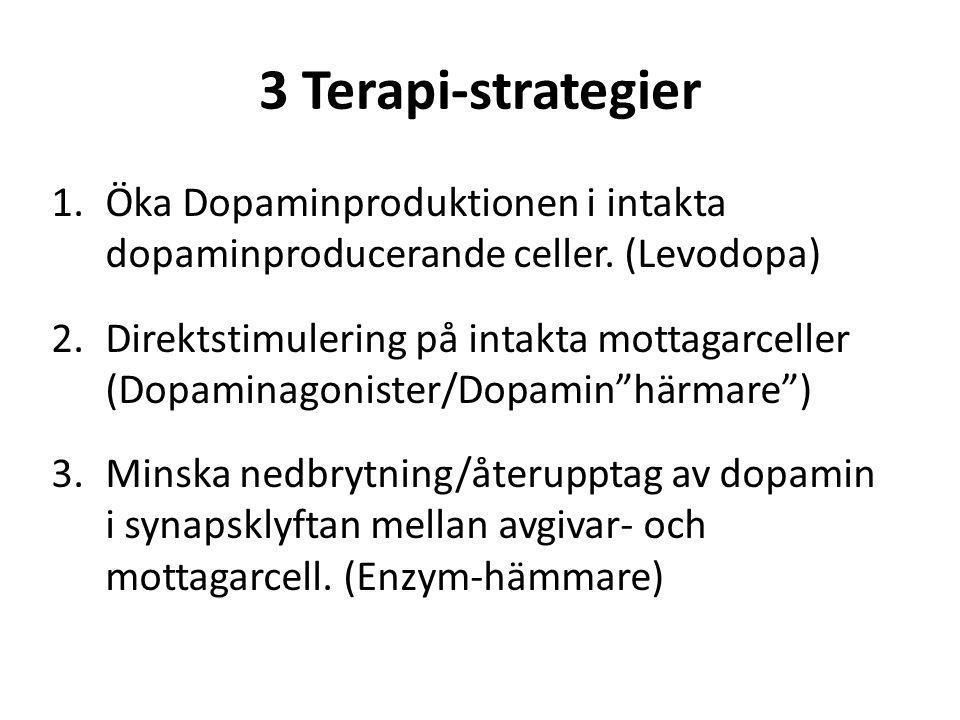 3 Terapi-strategier Öka Dopaminproduktionen i intakta dopaminproducerande celler. (Levodopa)