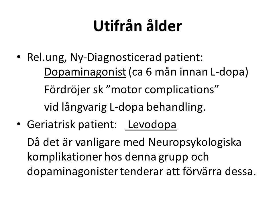 Utifrån ålder Rel.ung, Ny-Diagnosticerad patient: Dopaminagonist (ca 6 mån innan L-dopa) Fördröjer sk motor complications