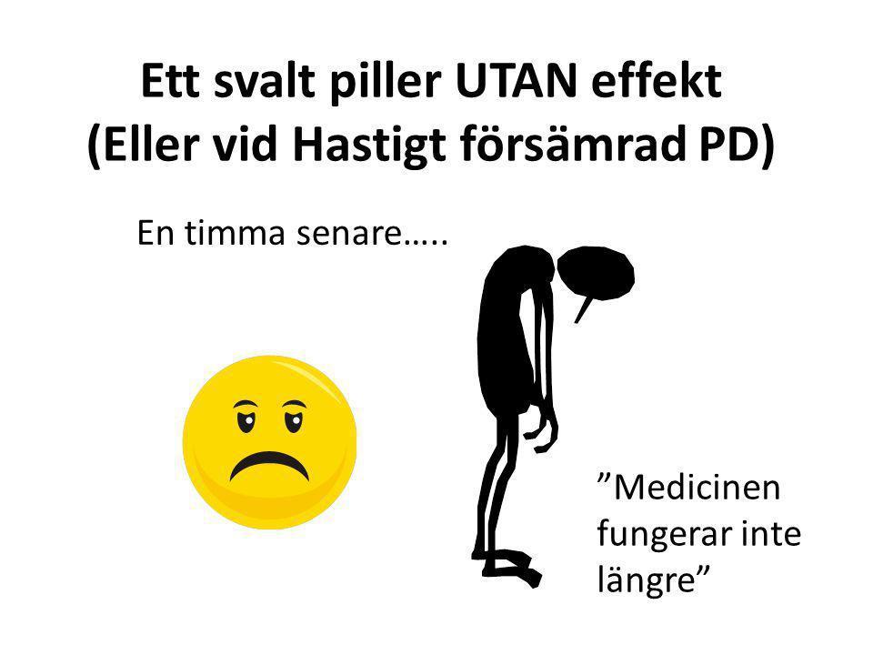 Ett svalt piller UTAN effekt (Eller vid Hastigt försämrad PD)