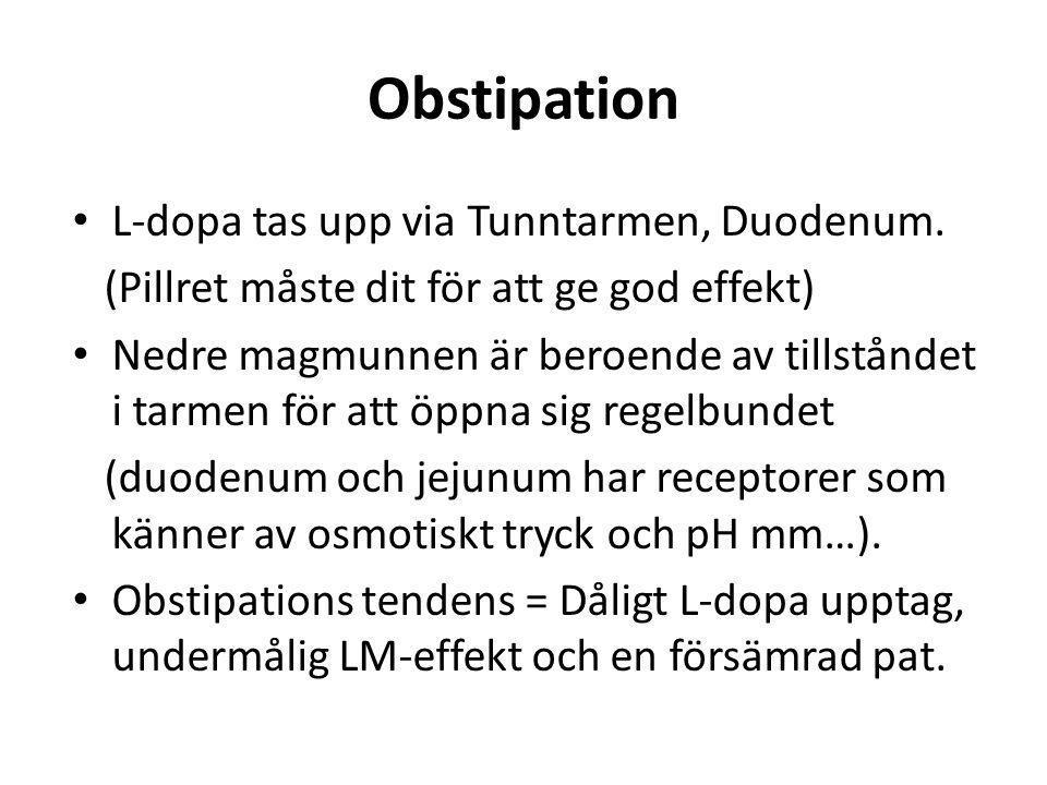 Obstipation L-dopa tas upp via Tunntarmen, Duodenum.