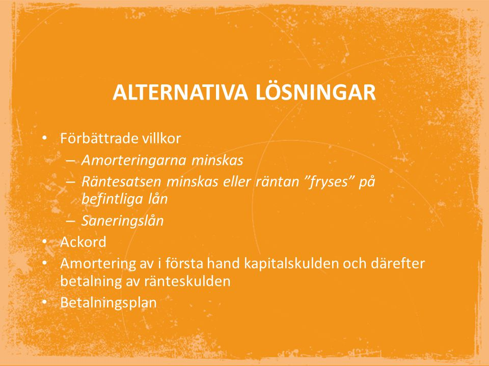 ALTERNATIVA LÖSNINGAR