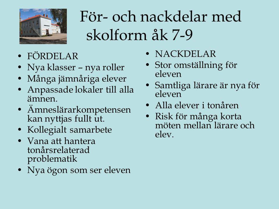 För- och nackdelar med skolform åk 7-9