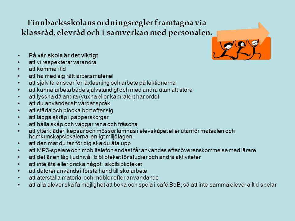 Finnbacksskolans ordningsregler framtagna via klassråd, elevråd och i samverkan med personalen.