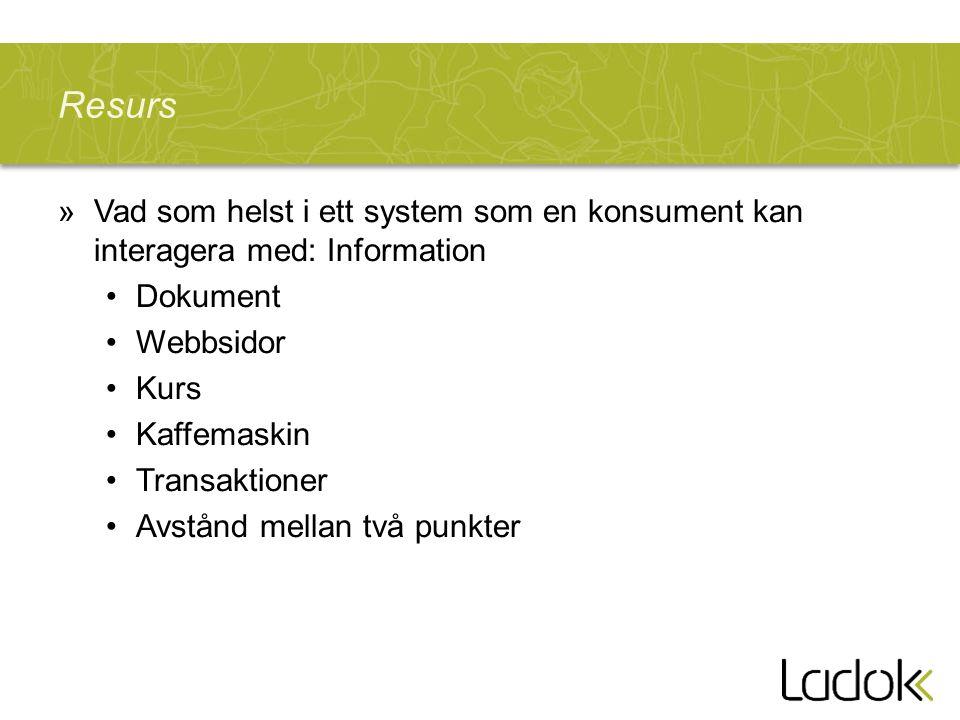 Resurs Vad som helst i ett system som en konsument kan interagera med: Information. Dokument. Webbsidor.