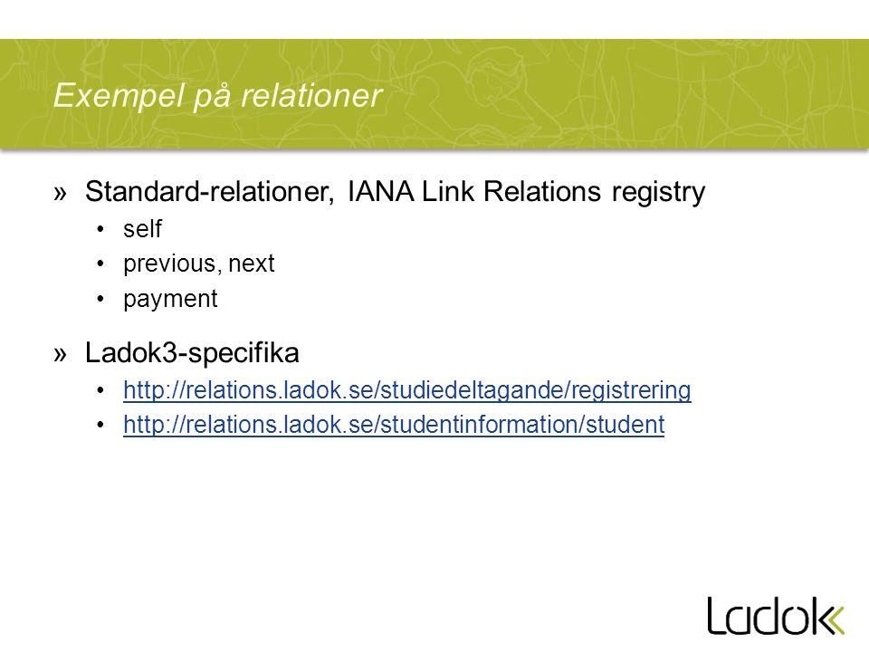 Exempel på relationer Standard-relationer, IANA Link Relations registry. self. previous, next. payment.