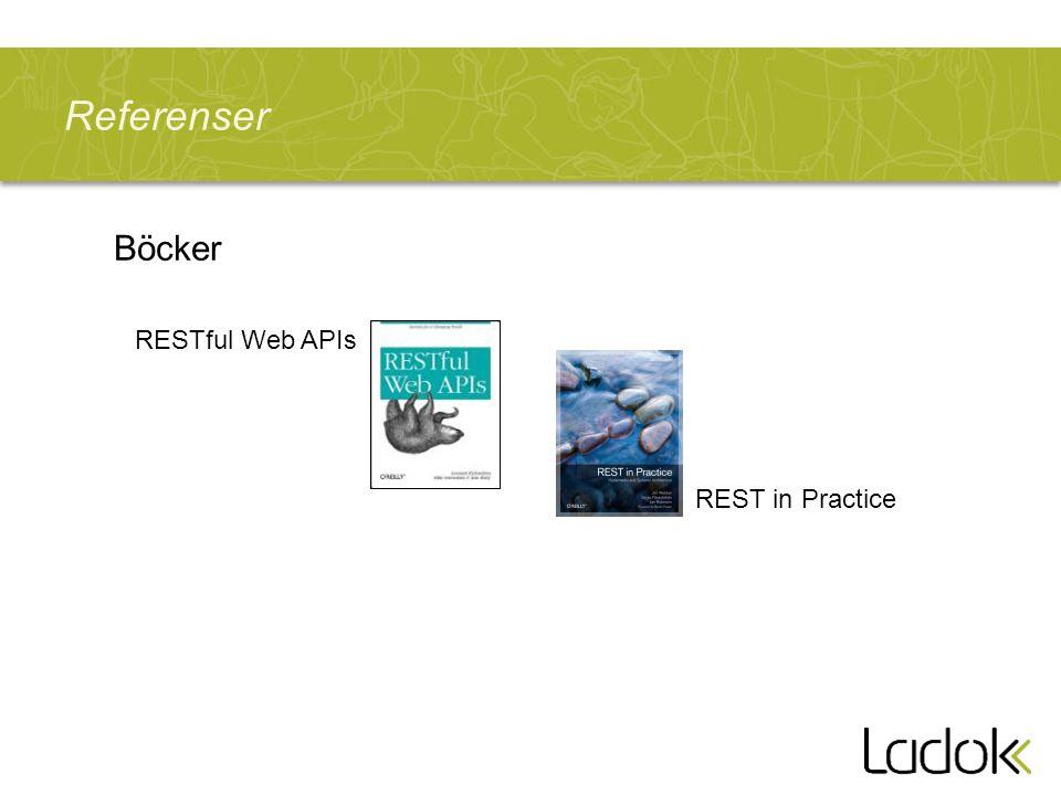 Referenser Böcker RESTful Web APIs REST in Practice
