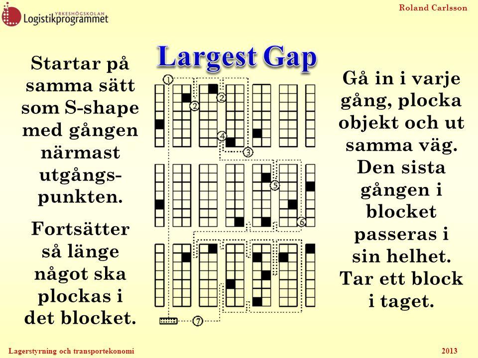 Largest Gap Startar på samma sätt som S-shape med gången närmast utgångs- punkten. Fortsätter så länge något ska plockas i det blocket.