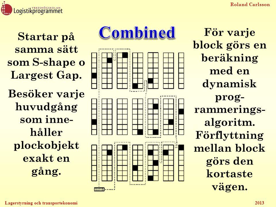 Combined För varje block görs en beräkning med en dynamisk prog-rammerings-algoritm. Förflyttning mellan block görs den kortaste vägen.