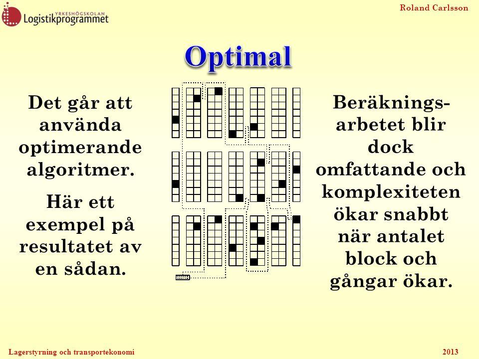 Optimal Det går att använda optimerande algoritmer.