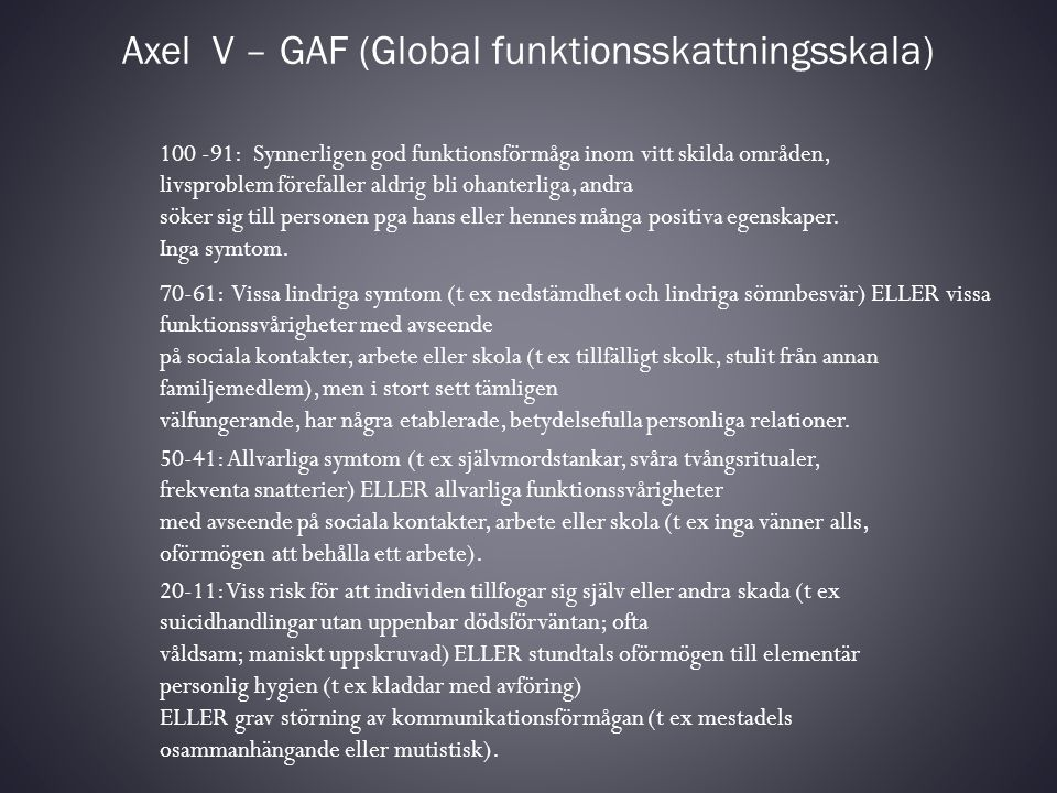 Axel V – GAF (Global funktionsskattningsskala)