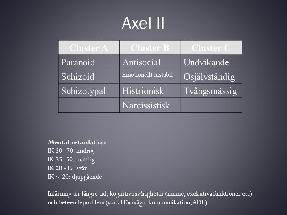 Axel II Cluster A Cluster B Cluster C Paranoid Antisocial Undvikande