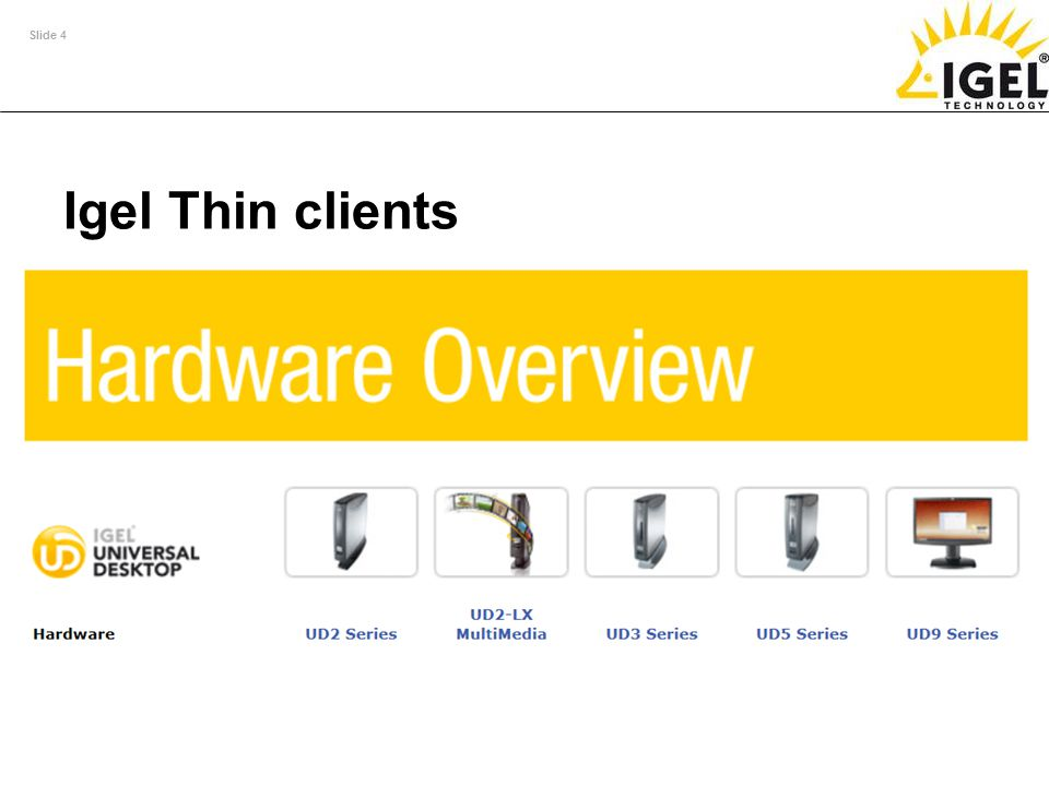 Igel Thin clients Full support for external SC readers in accordance with the PC/SC standard (memory and processor cards) in all IGEL model series.