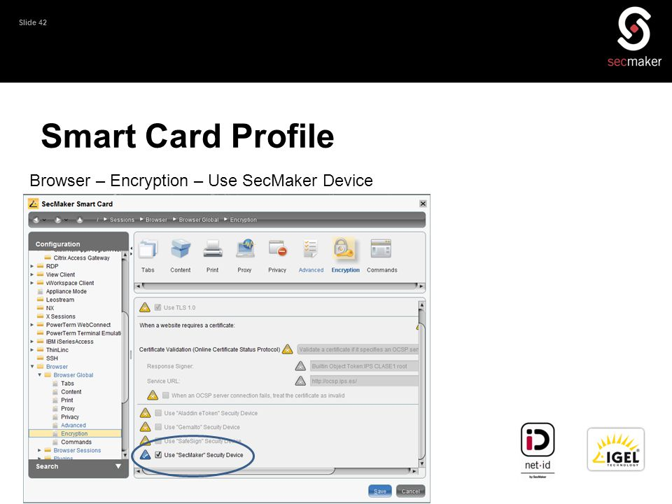Smart Card Profile Browser – Encryption – Use SecMaker Device