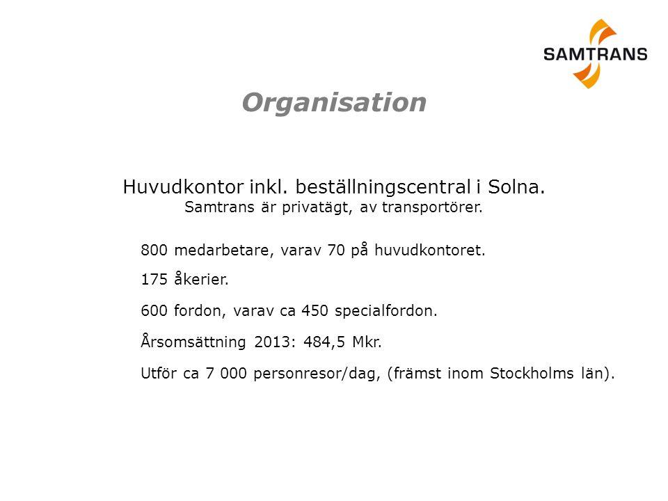 Organisation Huvudkontor inkl. beställningscentral i Solna. Samtrans är privatägt, av transportörer.