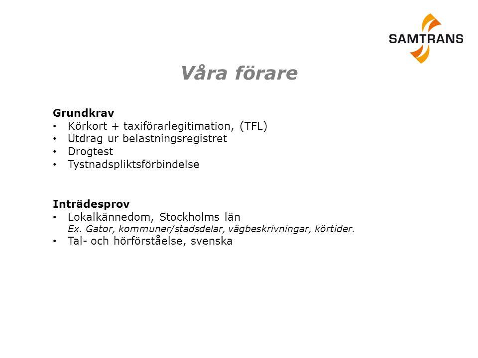 Våra förare Grundkrav Körkort + taxiförarlegitimation, (TFL)