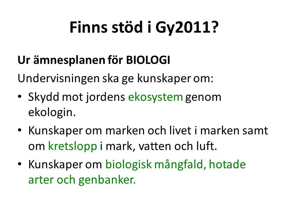 Finns stöd i Gy2011 Ur ämnesplanen för BIOLOGI