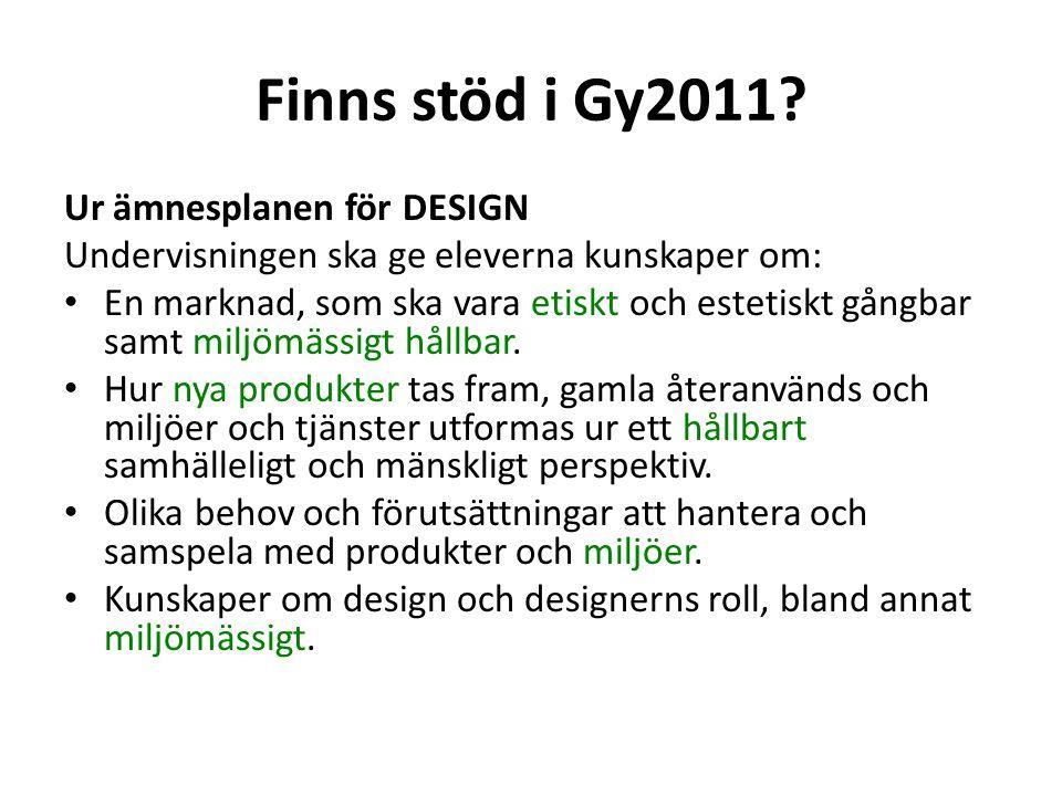 Finns stöd i Gy2011 Ur ämnesplanen för DESIGN