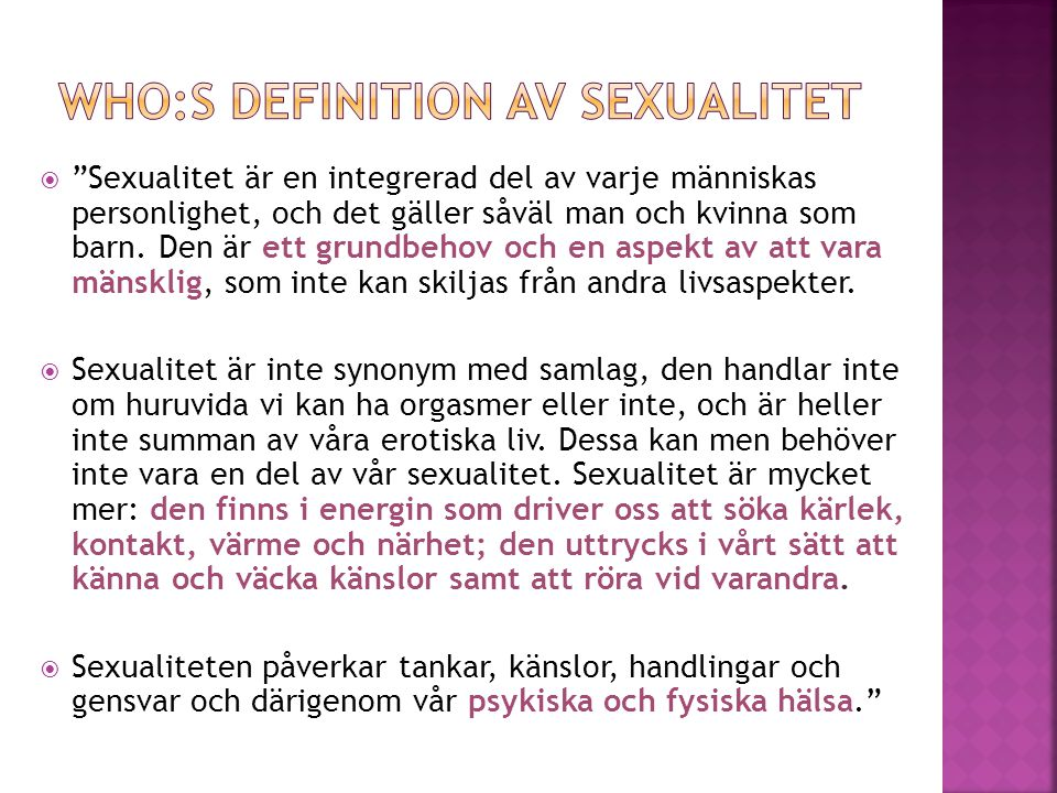 WHO:s definition av sexualitet