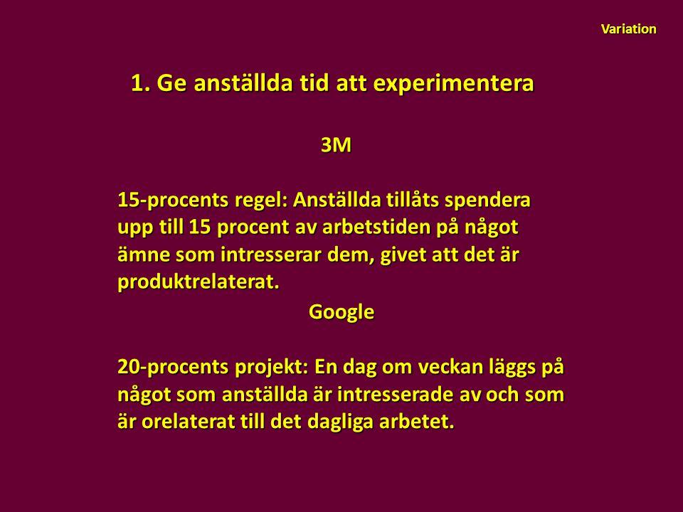 1. Ge anställda tid att experimentera